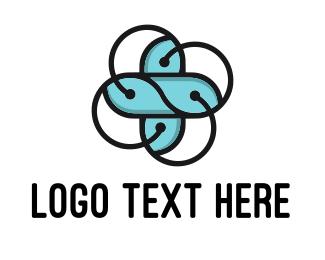Atom - Abstract Flower Cross logo design