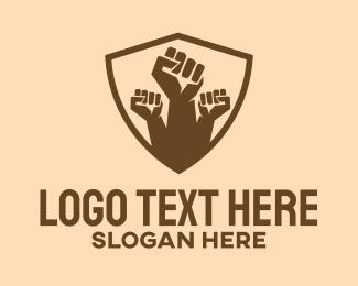 Equality - Raised Fist Shield logo design