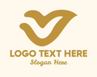 Gold Abstract Bird Logo