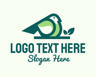 Lovebird - Green Eco Bird logo design
