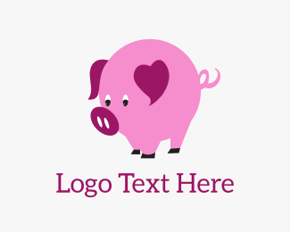 Pig - Pig Heart logo design