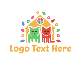 Cat And Dog - Cute Pet House logo design