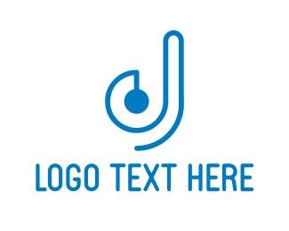 Disc Jockey - Blue DJ  logo design
