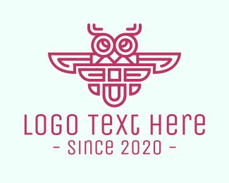 Purple Owl - Purple Tribal Owl logo design