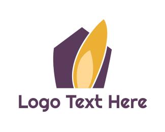 Firefighter - Purple House logo design