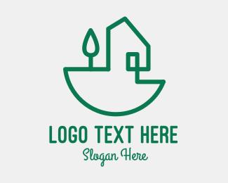 Eco Living - Green House Outline logo design