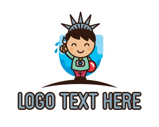 New York - Statue of Liberty Cartoon logo design
