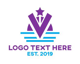 Headdress - Violet V Crown logo design