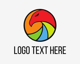 Video - Colorful Eagle Circle logo design