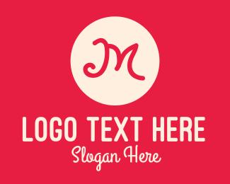 Handwritten - Pink Handwritten Letter M logo design