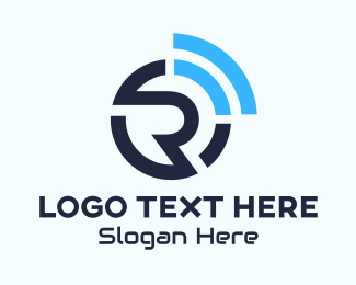 Wireless Fidelity - Internet Wifi Letter R logo design