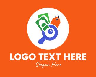 Price Discount - Discount Shopping Finder logo design