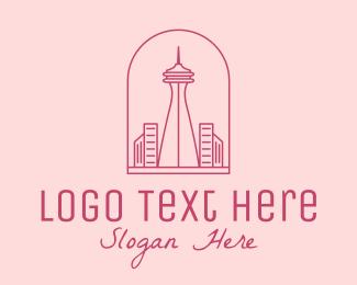 Washington - Pink Space Needle Outline  logo design
