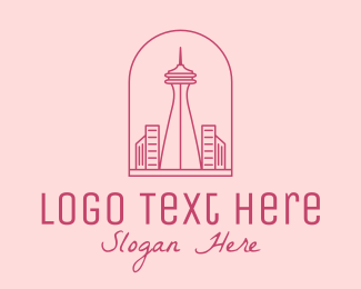 Planner - Pink Space Needle Outline logo design