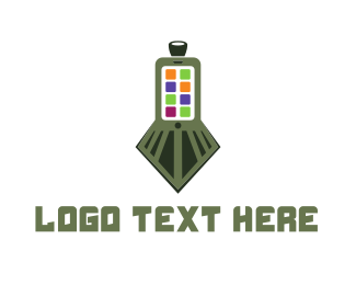 Cell Phone - Train Application logo design