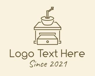 Ground Coffee - Minimalist Coffee Grinder logo design