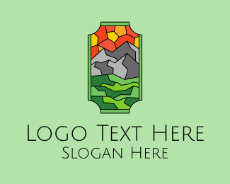 Rock Climbing - Mountain Landscape Stained Glass  logo design