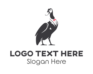 Fashion Label - Duck Tuxedo logo design