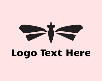 Dragonfly - Black Insect logo design