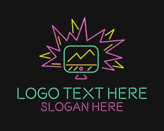 Minimalist - Neon Computer Monitor Blast logo design