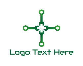 Reparation - Green Wrench Cross logo design