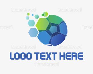 Barcelona - Blue Green Soccer Ball logo design