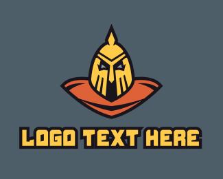 History - Medieval Warrior Bust logo design