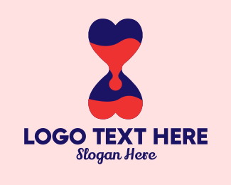 Dating Forum - Heart Hourglass  logo design