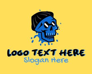 Graffiti - Hipster Graffiti Skull logo design