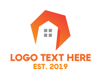Airbnb - Orange Polygon House logo design