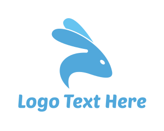 Blue Rabbit - Abstract Blue Rabbit  logo design