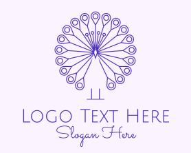 Purple Peacock Outline  Logo