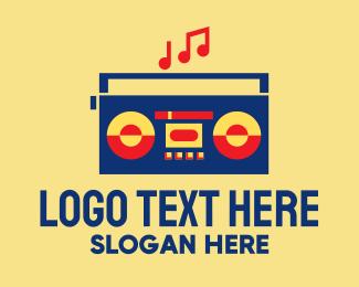 Recording Label - Retro Stereo Boombox logo design