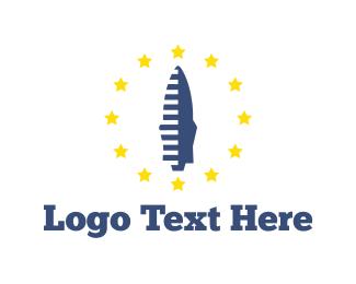 Spaceship - Blue Rocket logo design
