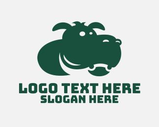 Fat - Green Hippo Mascot logo design