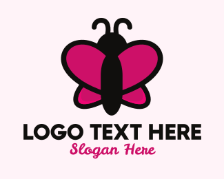 Pink Butterfly - Cute Cartoon Butterfly logo design