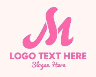 Calligraphy - Fancy Pink Letter M logo design