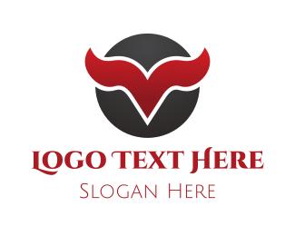 Yak - Horn Letter V logo design