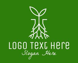 Root - Plant Seedling Root logo design