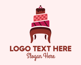 Pink Cake - Cake Chair logo design