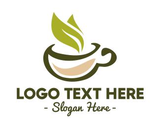 Cup - Green Tea Leaf logo design
