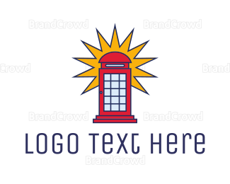 England - London Phone Booth logo design