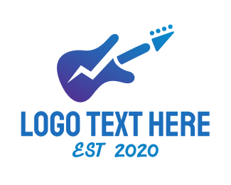 Lightning - Electric Guitar Band logo design
