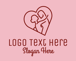 Wedding - Red Romantic Lovers logo design
