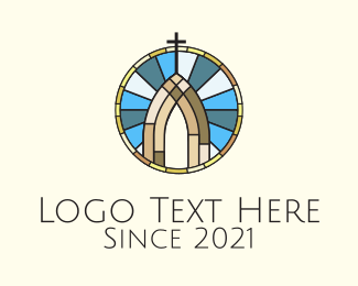 Christ - Church Stained Glass logo design