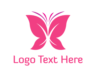 Natural - Pink Butterfly logo design