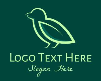 Goldcrest - Green Leaf Bird logo design