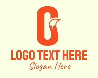Jackal - Orange Fox Tail Letter O logo design
