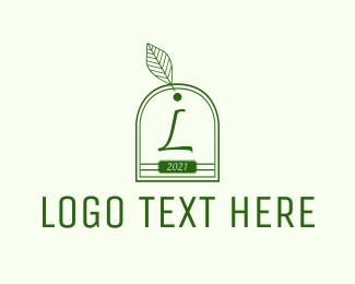Tea Leaves - Outline Teabag Lettermark logo design