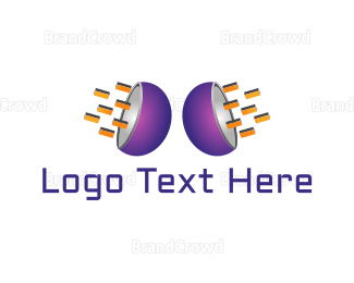 Electronic Music - Purple Speakers logo design
